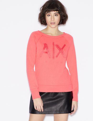 아르마니 익스체인지 Armani Exchange SWEATSHIRT WITH TRIMMING APPLIQUEES,Bright Pink
