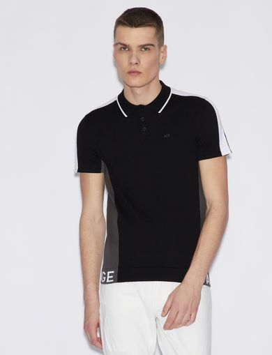 아르마니 익스체인지 Armani Exchange POLO SHIRT IN COTTON,Black