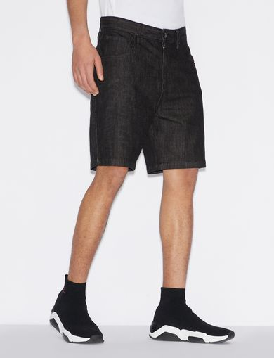 아르마니 익스체인지 Armani Exchange BERMUDA SHORTS IN DENIM WITH LOGO,Black Denim