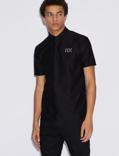 아르마니 익스체인지 Armani Exchange POLO SHIRT WITH CONTRASTING INSERTS,Black