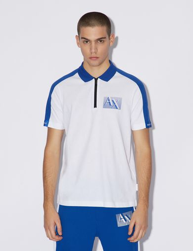 아르마니 익스체인지 Armani Exchange BICOLOUR POLO SHIRT,White
