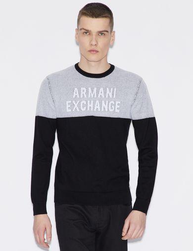 아르마니 익스체인지 Armani Exchange BICOLOUR PULLOVER,Black/White
