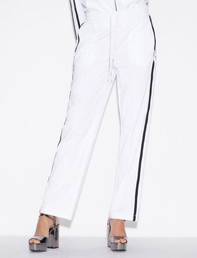 아르마니 익스체인지 Armani Exchange TROUSERS WITH CONTRASTING BAND,White