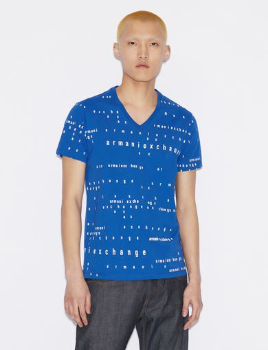 아르마니 익스체인지 Armani Exchange T-SHIRT WITH LETTERING,MARINE
