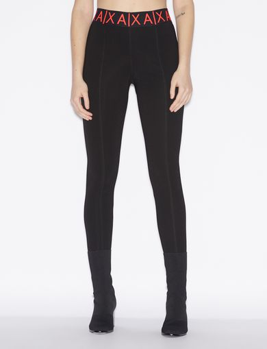 아르마니 익스체인지 Armani Exchange LEGGINGS WITH BRANDED ELASTIC,Black