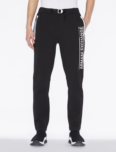 아르마니 익스체인지 Armani Exchange SPORTY TROUSERS WITH WAIST STRAP,Black