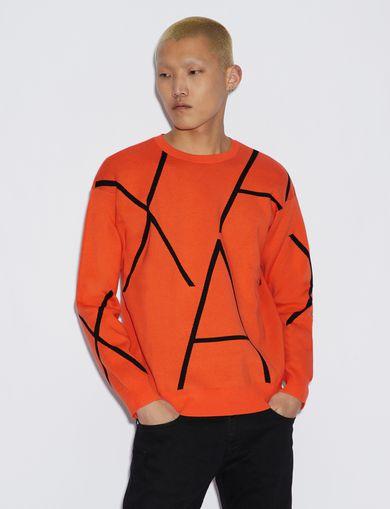 아르마니 익스체인지 Armani Exchange PULLOVER WITH CONTRASTING LETTERING,Orange