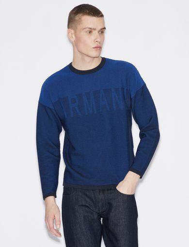 아르마니 익스체인지 Armani Exchange STRIPED PULLOVER,Blue