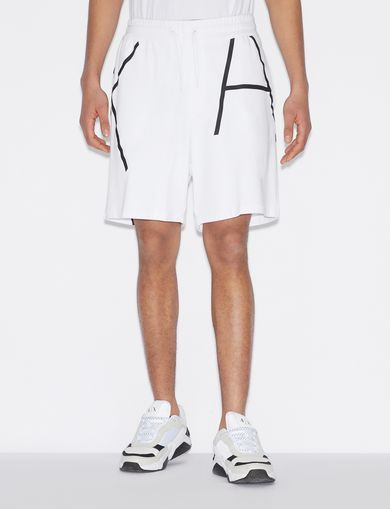 아르마니 익스체인지 Armani Exchange BERMUDA SHORTS WITH CONTRASTING LOGO,White