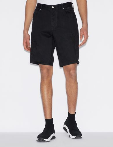 아르마니 익스체인지 Armani Exchange BERMUDA SHORTS IN DENIM,Black