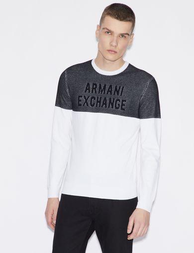 아르마니 익스체인지 Armani Exchange BICOLOUR PULLOVER,White