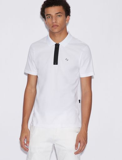 아르마니 익스체인지 Armani Exchange POLO SHIRT WITH CONTRAST PROFILES,White