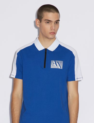 아르마니 익스체인지 Armani Exchange BICOLOUR POLO SHIRT,Blue