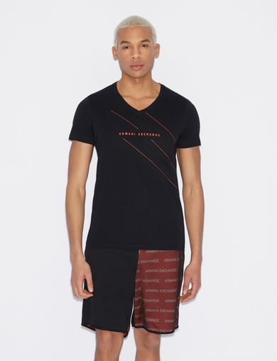 아르마니 익스체인지 Armani Exchange V-NECK SLIM T-SHIRT,Black
