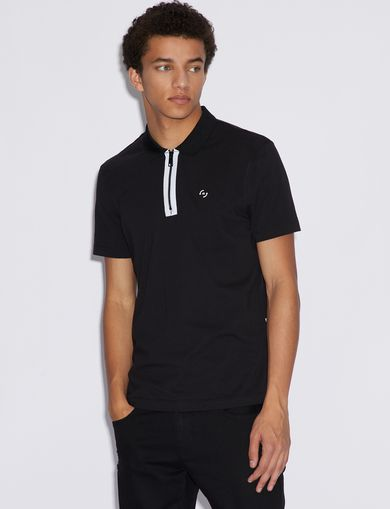 아르마니 익스체인지 Armani Exchange POLO SHIRT WITH CONTRAST PROFILES,Black