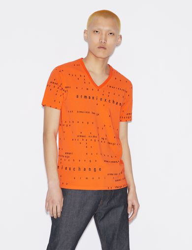 아르마니 익스체인지 Armani Exchange T-SHIRT WITH LETTERING,Orange