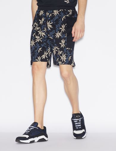 아르마니 익스체인지 Armani Exchange COTTON BERMUDA SHORTS WITH PATCH POCKETS,Navy Blue