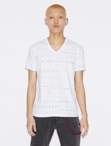 아르마니 익스체인지 Armani Exchange T-SHIRT WITH LETTERING,White