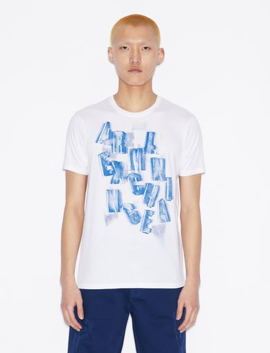 아르마니 익스체인지 Armani Exchange T-SHIRT WITH LETTERING,White