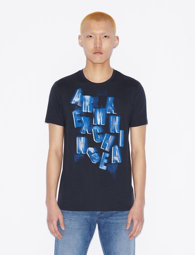 아르마니 익스체인지 Armani Exchange T-SHIRT WITH LETTERING,Navy Blue