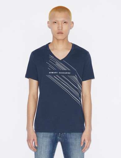 아르마니 익스체인지 Armani Exchange V-NECK SLIM T-SHIRT,Navy Blue