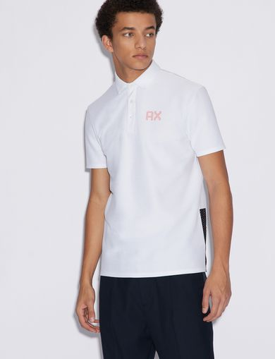 아르마니 익스체인지 Armani Exchange POLO SHIRT WITH CONTRASTING INSERTS,White