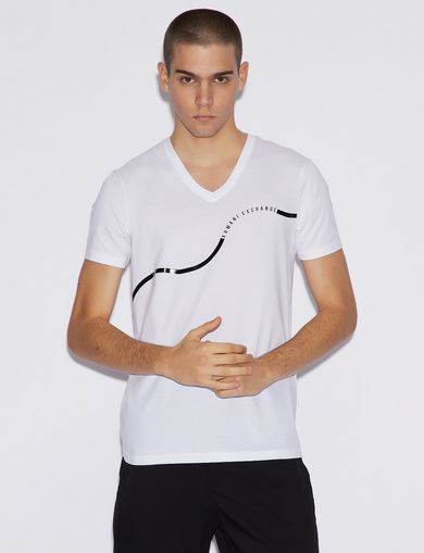 아르마니 익스체인지 Armani Exchange V-NECK SLIM T-SHIRT,White