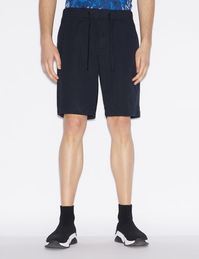아르마니 익스체인지 Armani Exchange BERMUDA SHORTS WITH DRAWSTRING WAIST,Navy Blue