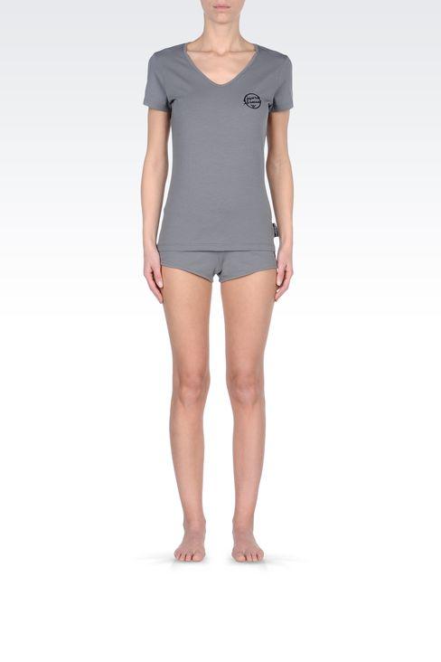 V-NECK T-SHIRT IN JERSEY: Beach T-shirts Women by Armani - 1