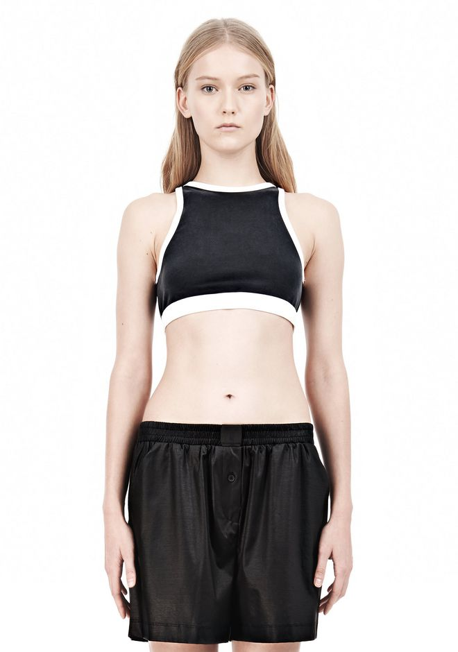 T by ALEXANDER WANG  PIQUE DOUBLE KNIT SPORTS BRA TOP Adult 12_n_e