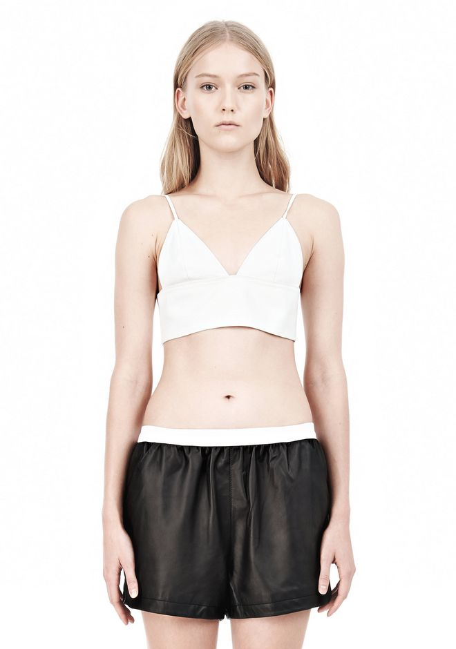 T by ALEXANDER WANG MATTE LAMB TRIANGLE BRALETTE TOP Adult 12_n_e