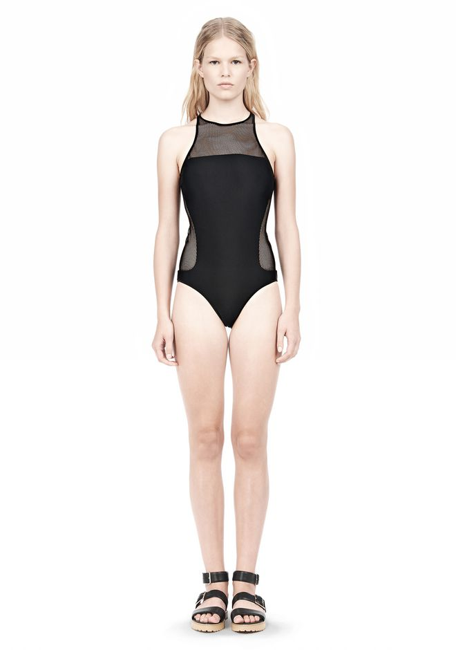 T by ALEXANDER WANG MESH COMBO RACERBACK ONE PIECE SWIMSUIT Swimwear Adult 12_n_f