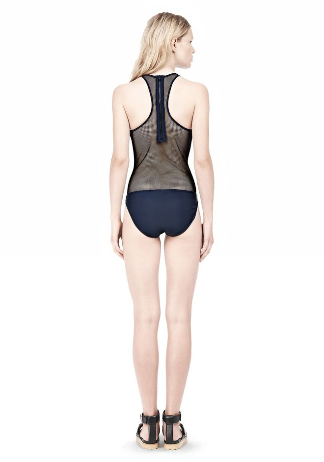 T by ALEXANDER WANG MESH COMBO RACERBACK ONE PIECE SWIMSUIT Swimwear Adult 12_n_r