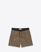 Board Shorts in Beige, Brown and Black Ottoman Leopard Camouflage Printed Cotton and Nylon