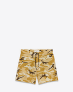Board Shorts in Beige Ottoman Camouflage Printed Cotton and Nylon
