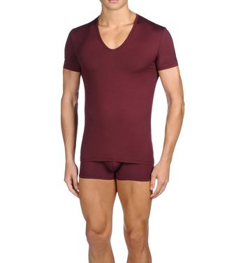 ERMENEGILDO ZEGNA: T-Shirt Collo V Bordeaux - 48150776WQ