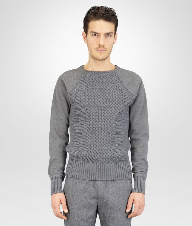 BOTTEGA VENETA New Light Grey Melange Organic Cotton Wool Jersey Sweater Knitwear U fp