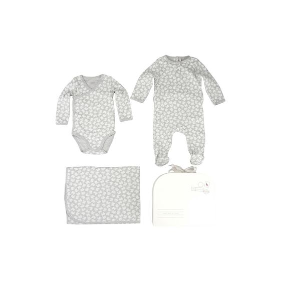 STELLA McCARTNEY KIDS, Dresses & All-in-one, Bird print organic cotton gift set in grey melange tone. <br> Featuring a printed body and all-in-one and matching blanket.
