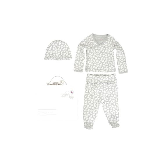 STELLA McCARTNEY KIDS, Dresses & All-in-one, Bird print organic cotton gift set in grey melange tone. <br> Featuring a printed t-shirt and trousers and matching hat and mittens.