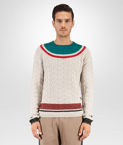 SWEATER IN MIST COTTON CANARD VESUVIO PRINTED DETAIL
