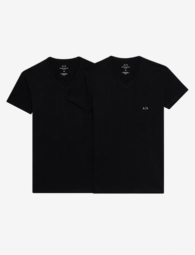 아르마니 익스체인지 티셔츠 Armani Exchange V-NECK UNDERWEAR T-SHIRT,Black