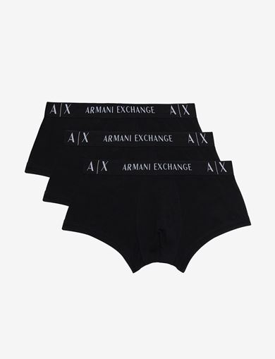 아르마니 익스체인지 Armani Exchange LOGO WAISTBAND BOXER BRIEFS, 3 PACK,Black