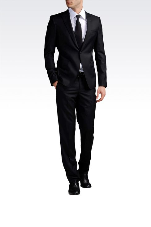 ONE-BUTTON SUIT IN COMBED VIRGIN WOOL: One button suits Men by Armani - 2