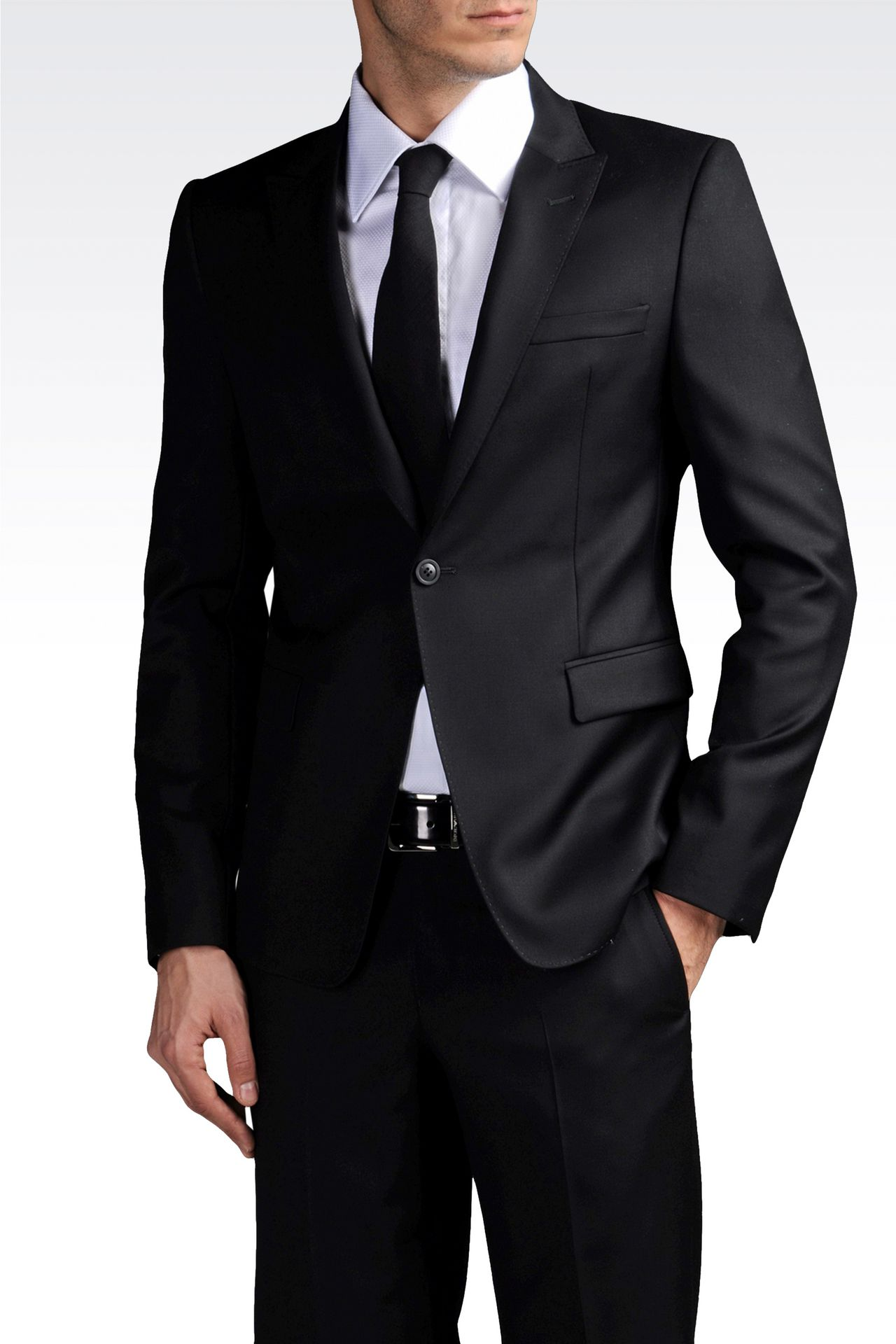ONE-BUTTON SUIT IN COMBED VIRGIN WOOL: One button suits Men by Armani - 0