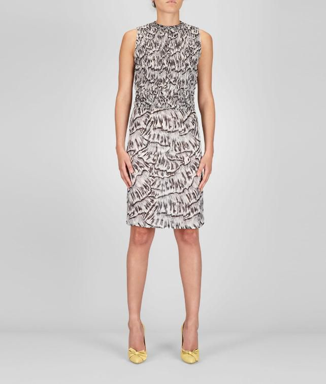 Studded Trompe L'Oeil Silk Printed Dress