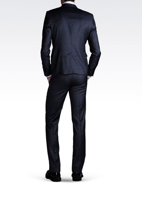 ONE-BUTTON SUIT IN COMBED DENIM EFFECT: One button suits Men by Armani - 3