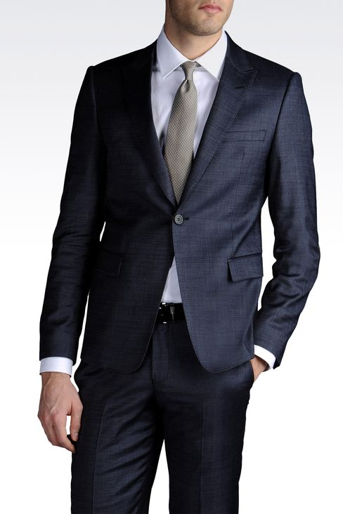 ONE-BUTTON SUIT IN COMBED DENIM EFFECT: One button suits Men by Armani - 1