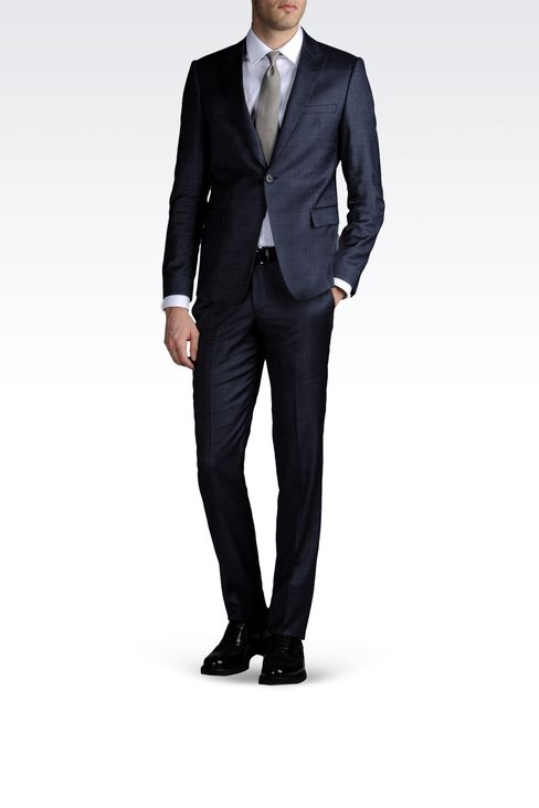 ONE-BUTTON SUIT IN COMBED DENIM EFFECT: One button suits Men by Armani - 2