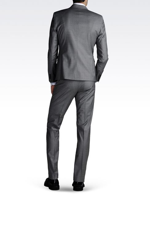 ONE-BUTTON SUIT IN STRETCH CHINTZED CLOTH: One button suits Men by Armani - 3