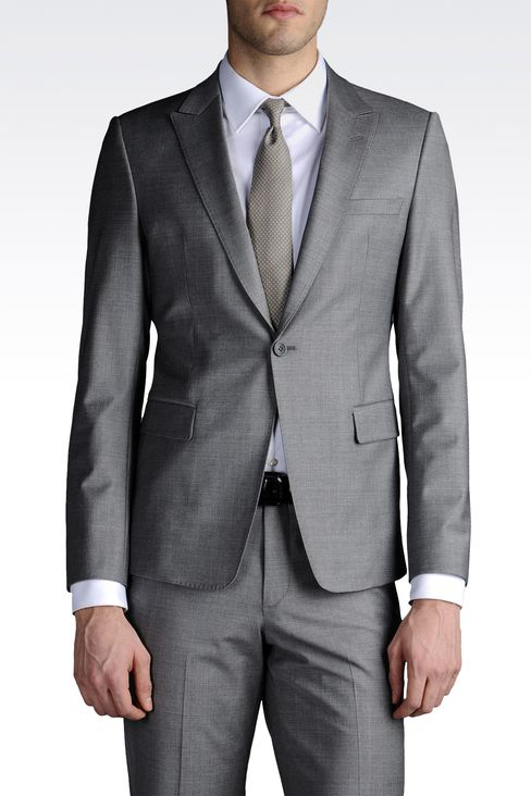 ONE-BUTTON SUIT IN STRETCH CHINTZED CLOTH: One button suits Men by Armani - 1